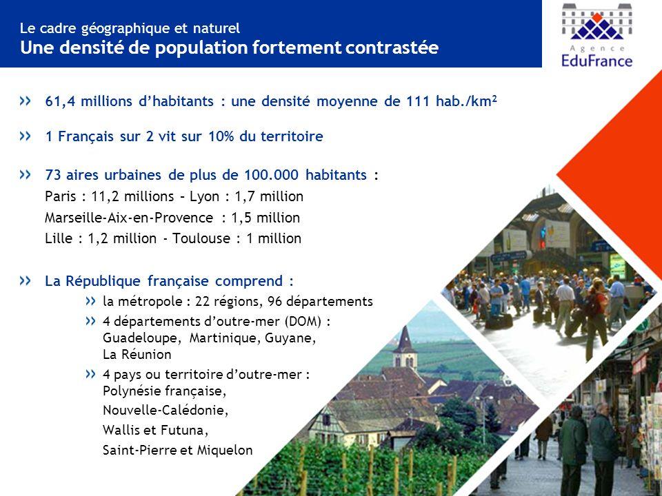 61,4 millions d'habitants : une densité moyenne de 111 hab./km2