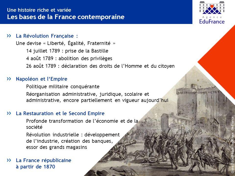 Une histoire riche et variée Les bases de la France contemporaine