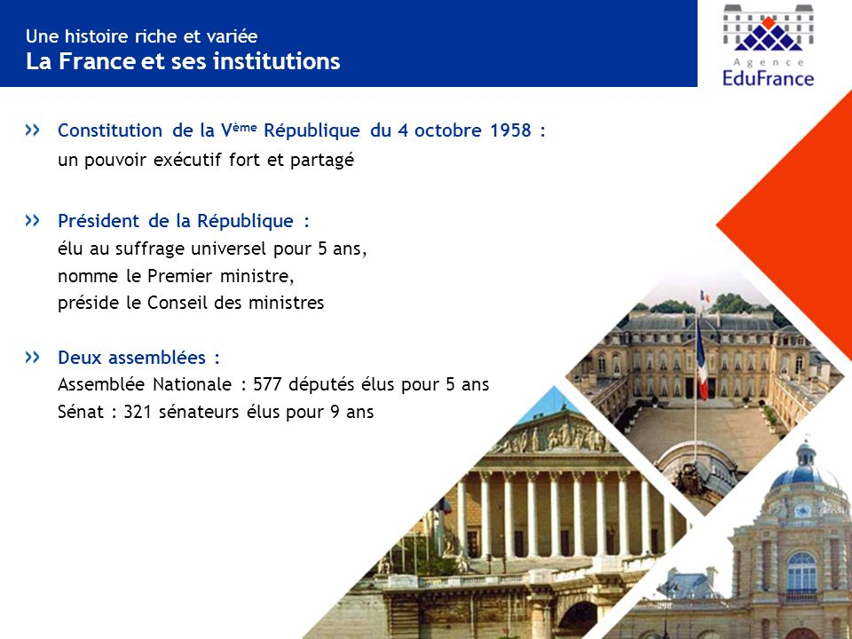 Une histoire riche et variée La France et ses institutions