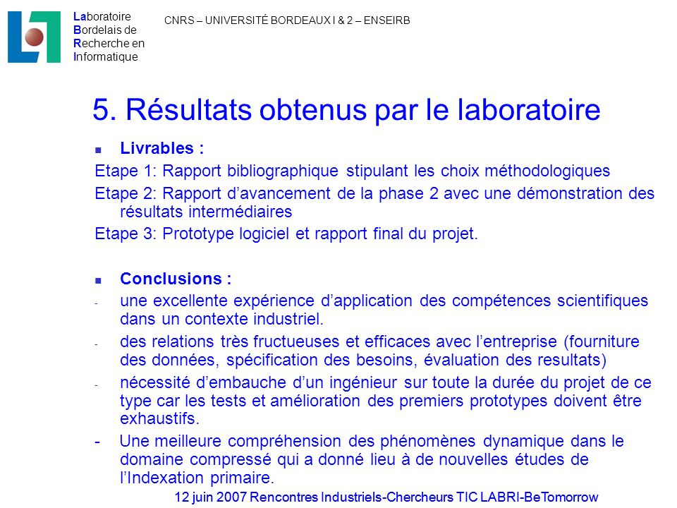 5. Résultats obtenus par le laboratoire