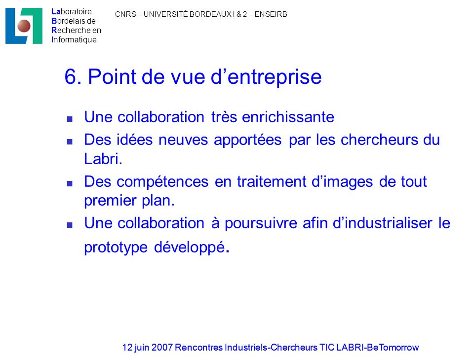 6. Point de vue d'entreprise