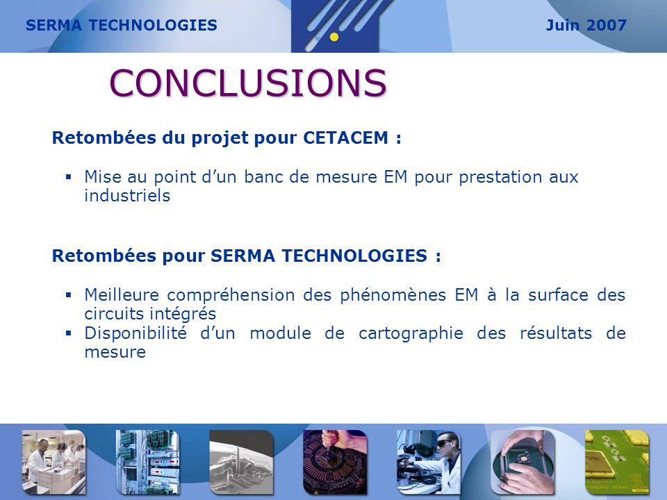 CONCLUSIONS Retombées du projet pour CETACEM :