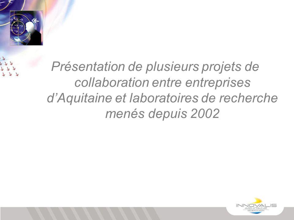 Présentation de plusieurs projets de collaboration entre entreprises d'Aquitaine et laboratoires de recherche menés depuis 2002