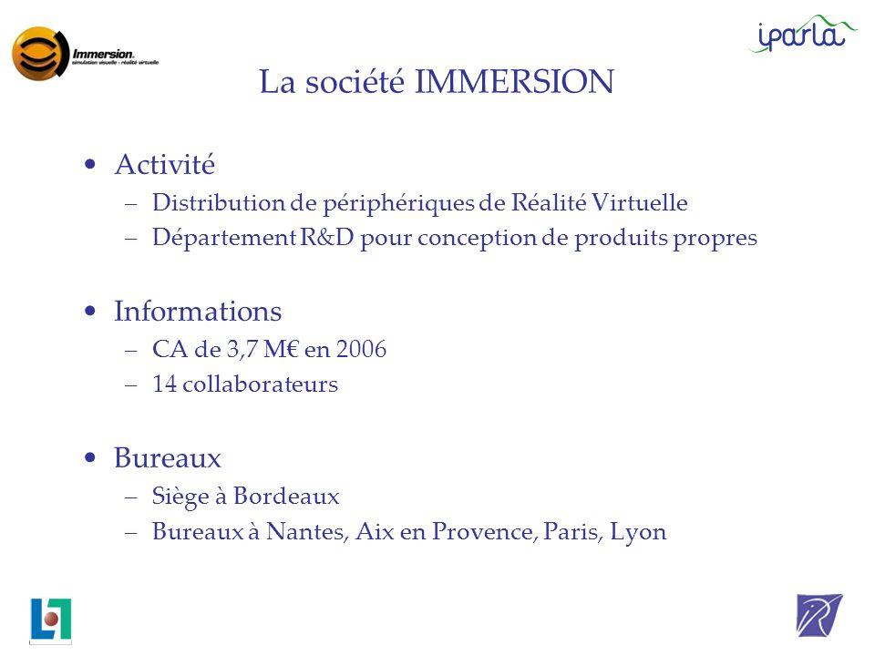 La société IMMERSION Activité Informations Bureaux