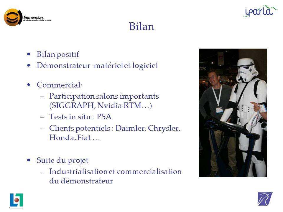 Bilan Bilan positif Démonstrateur matériel et logiciel Commercial: