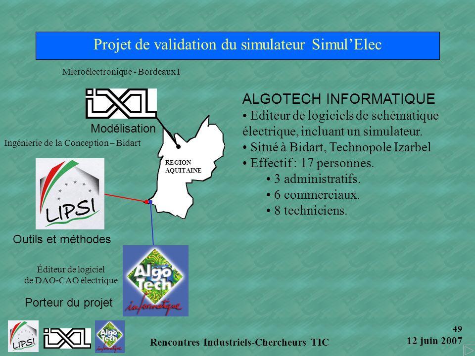 Projet de validation du simulateur Simul'Elec