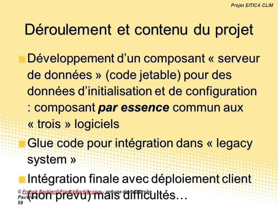 Déroulement et contenu du projet