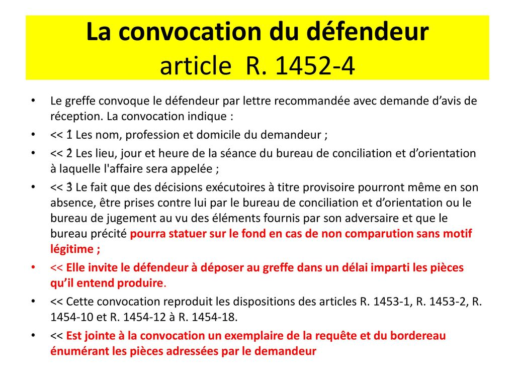 La proc dure prud homale applicable au 1er ao t ppt - Convocation devant le bureau de conciliation ...
