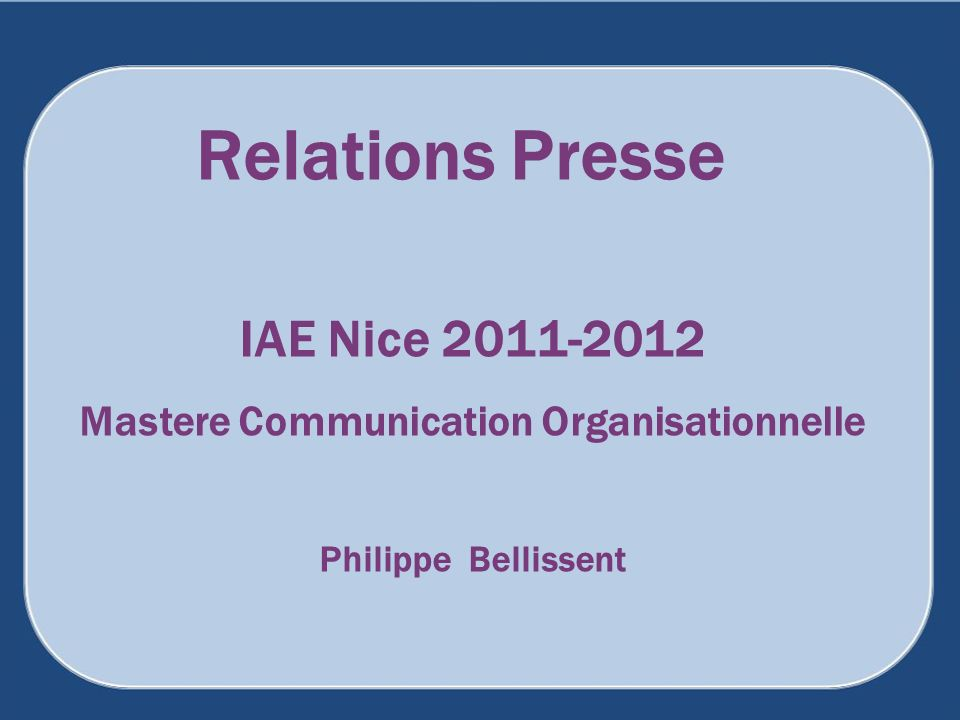 Mastere Communication Organisationnelle