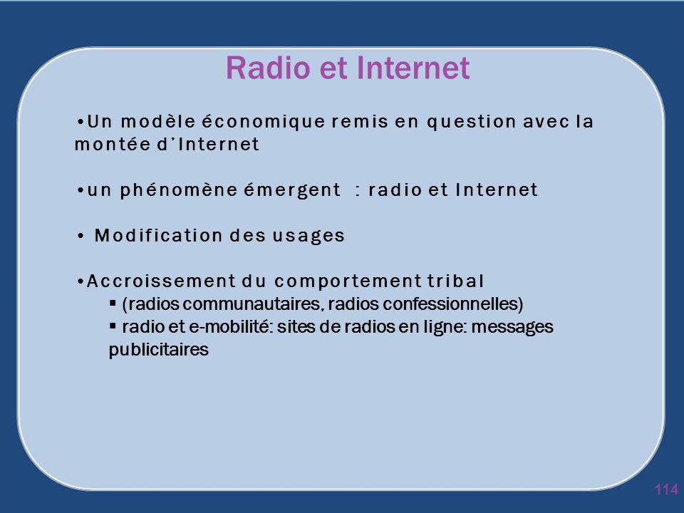 Radio et Internet Un modèle économique remis en question avec la montée d'Internet. un phénomène émergent : radio et Internet.