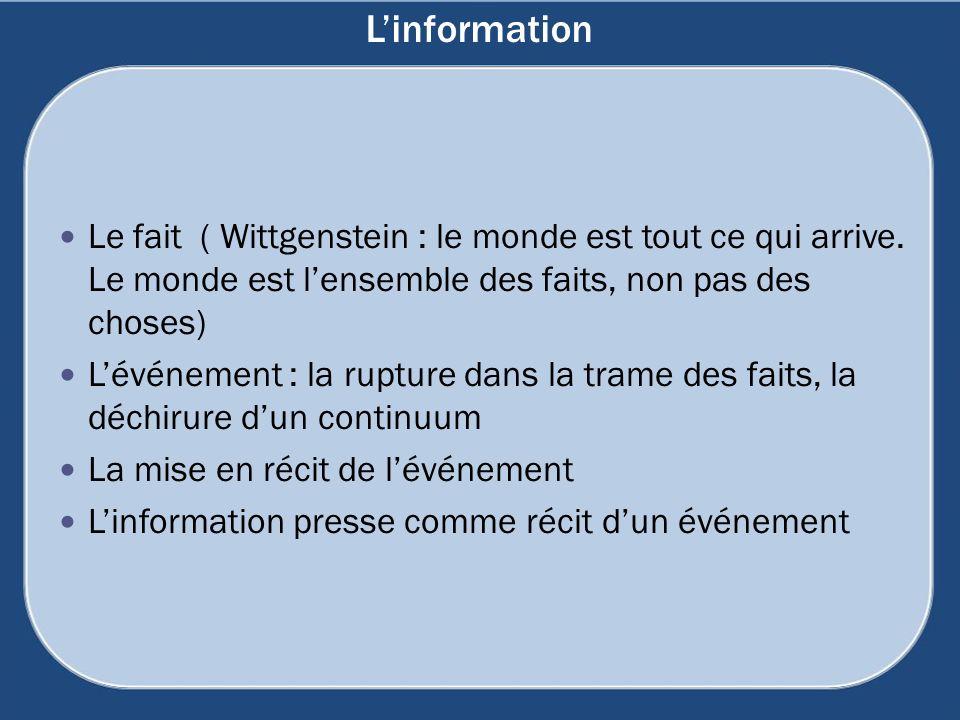 L'information Le fait ( Wittgenstein : le monde est tout ce qui arrive. Le monde est l'ensemble des faits, non pas des choses)