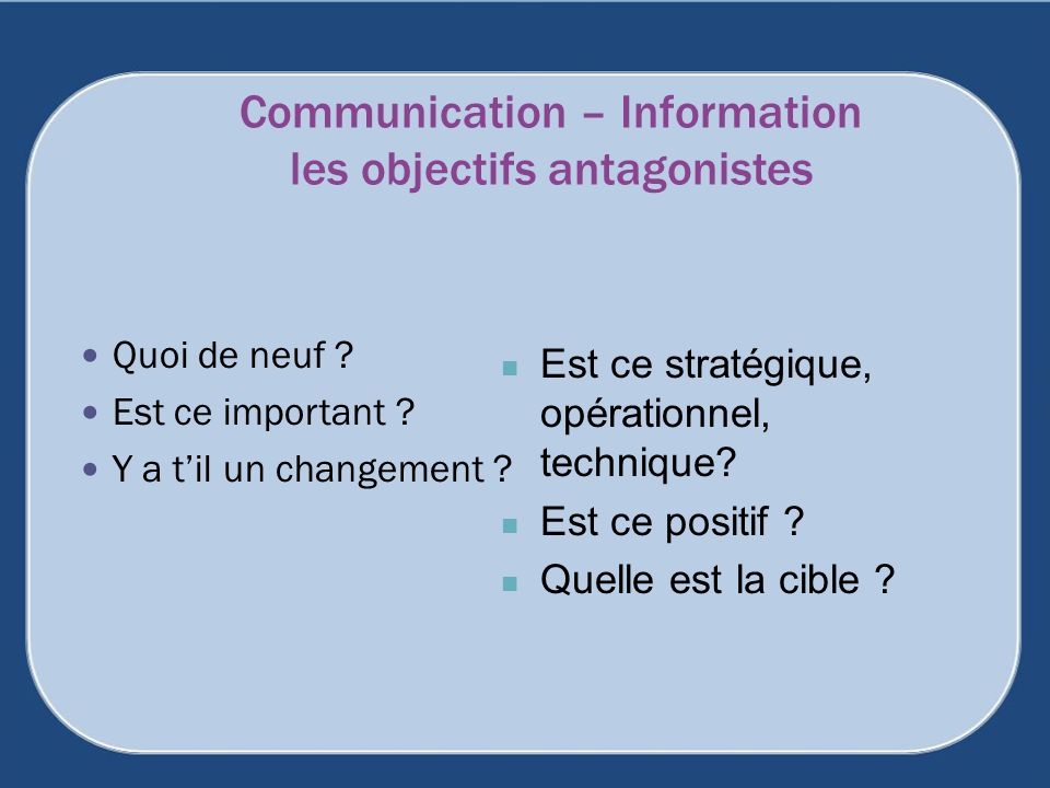 Communication – Information les objectifs antagonistes