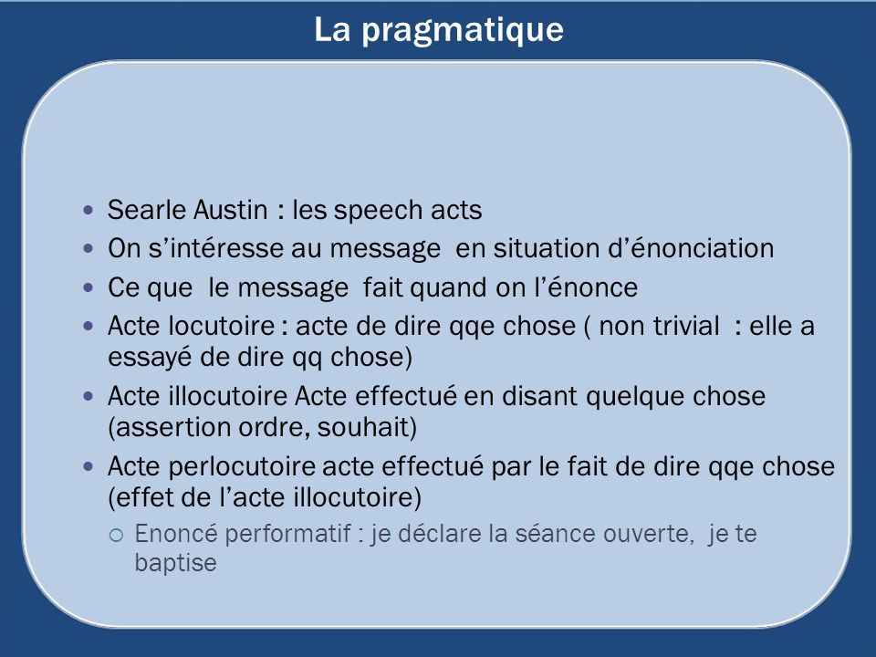 La pragmatique Searle Austin : les speech acts