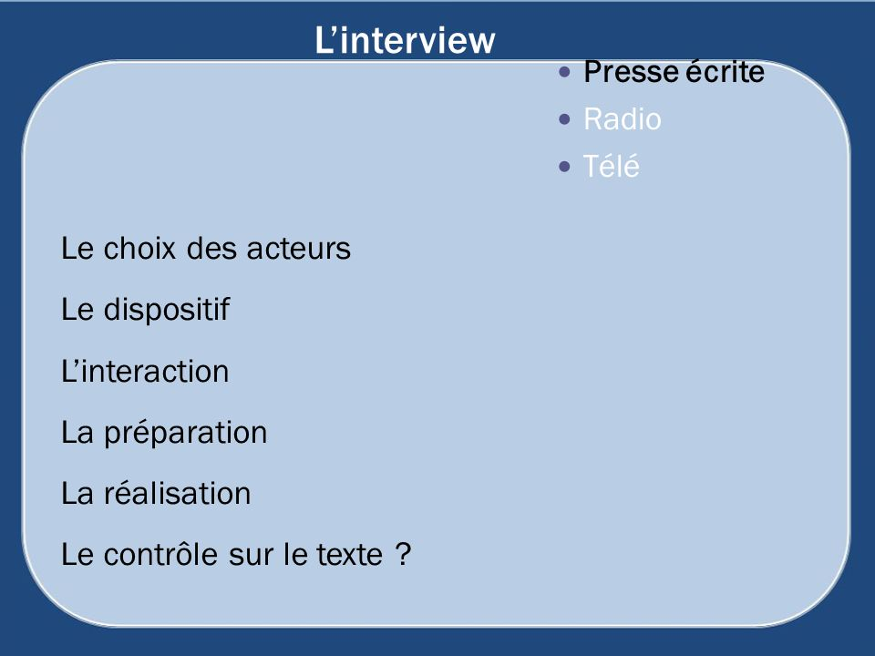 L'interview Le choix des acteurs Le dispositif L'interaction
