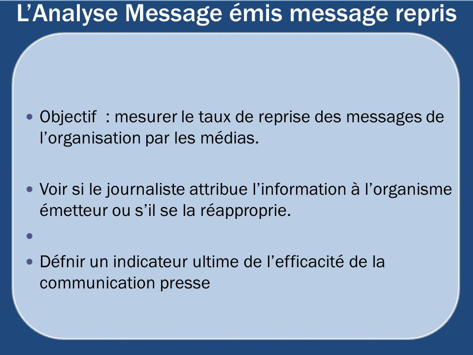 L'Analyse Message émis message repris