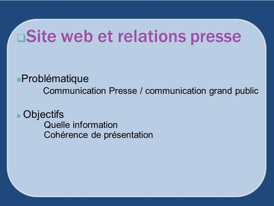 Site web et relations presse