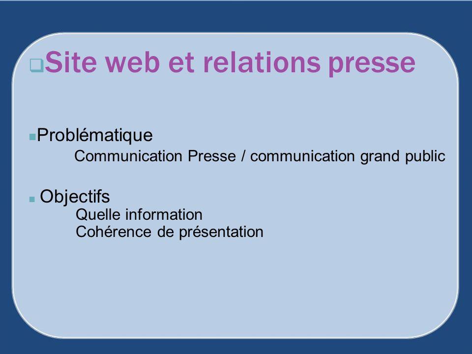 Site web et relations presse