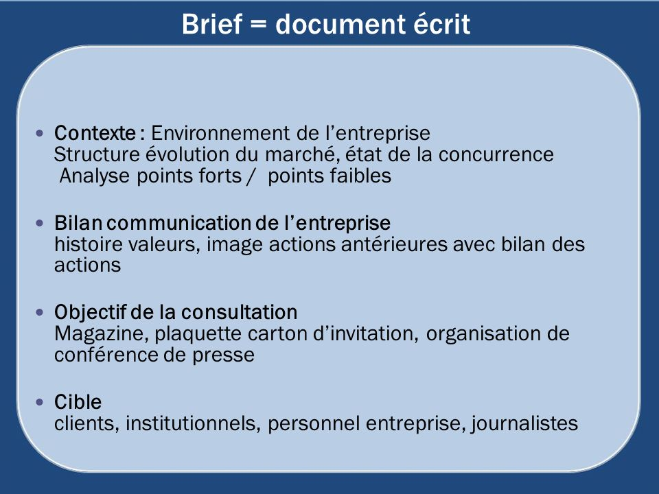 Brief = document écrit