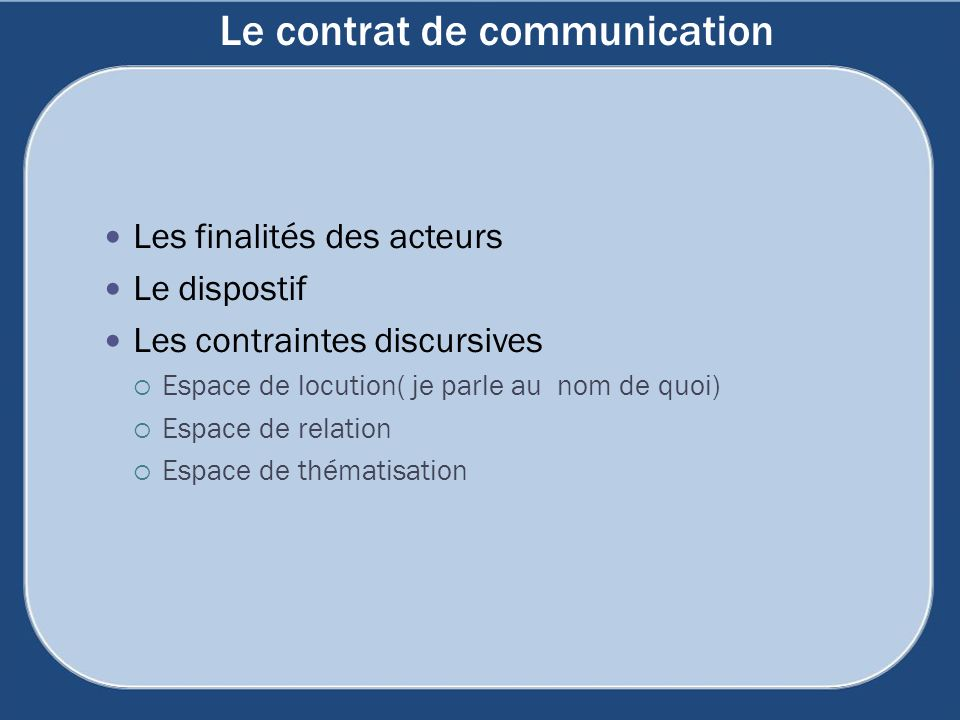 Le contrat de communication