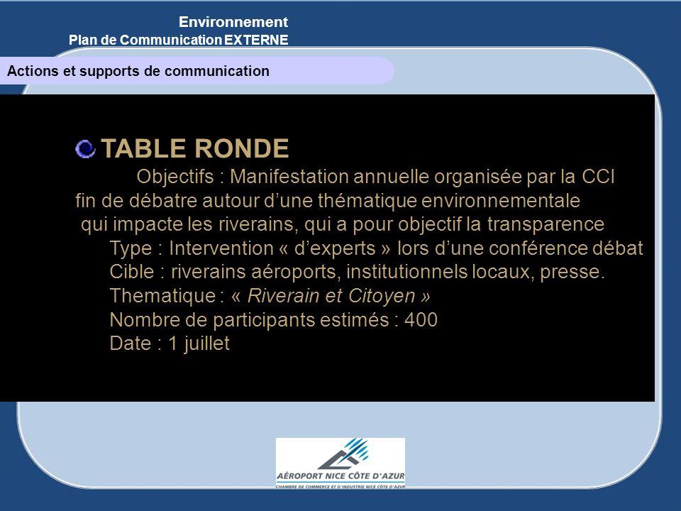 TABLE RONDE Objectifs : Manifestation annuelle organisée par la CCI