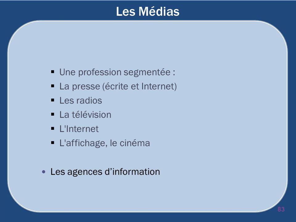 Les Médias Une profession segmentée : La presse (écrite et Internet)