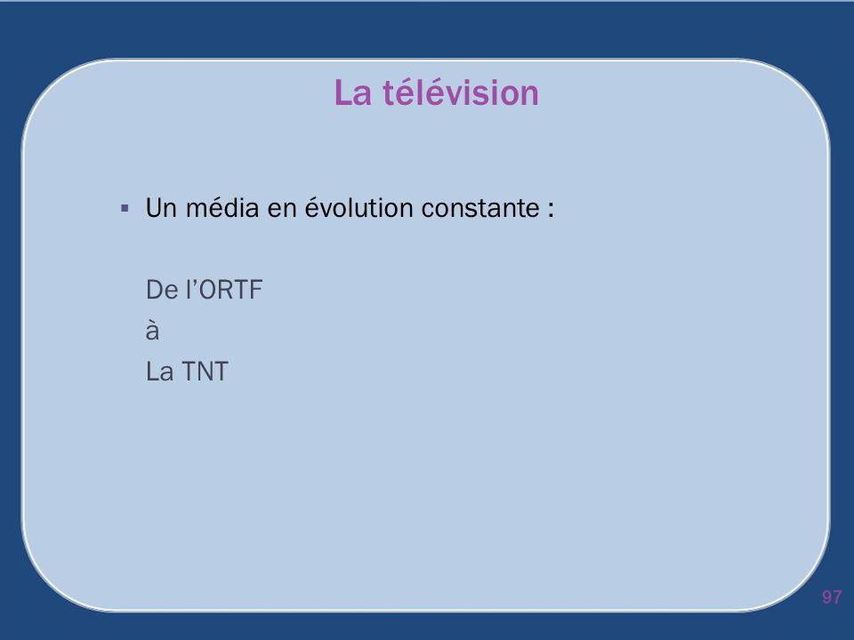 La télévision Un média en évolution constante : De l'ORTF à La TNT