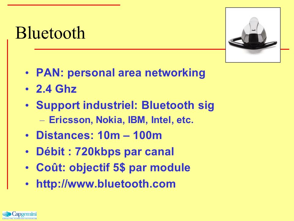 Bluetooth PAN: personal area networking 2.4 Ghz
