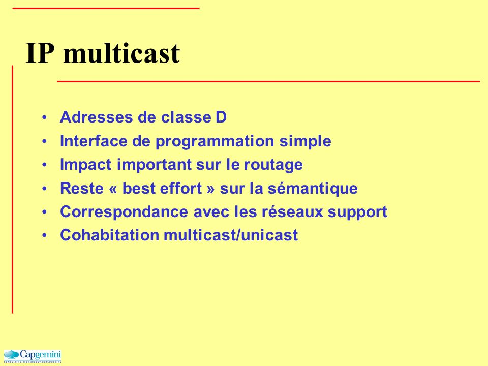 IP multicast Adresses de classe D Interface de programmation simple