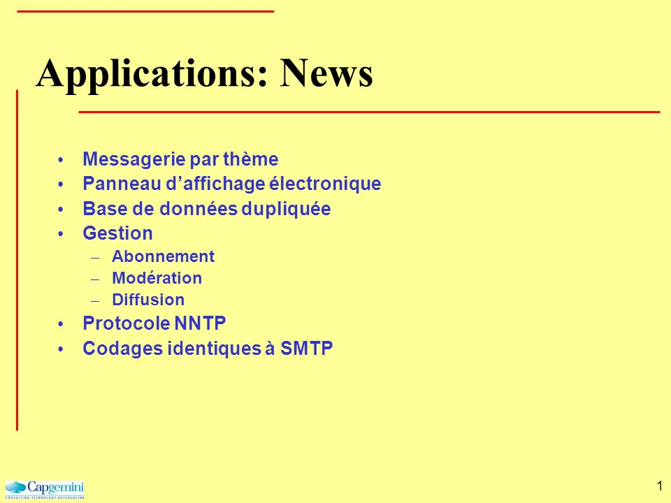 Applications: News Messagerie par thème