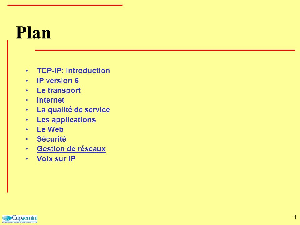 Plan TCP-IP: Introduction IP version 6 Le transport Internet