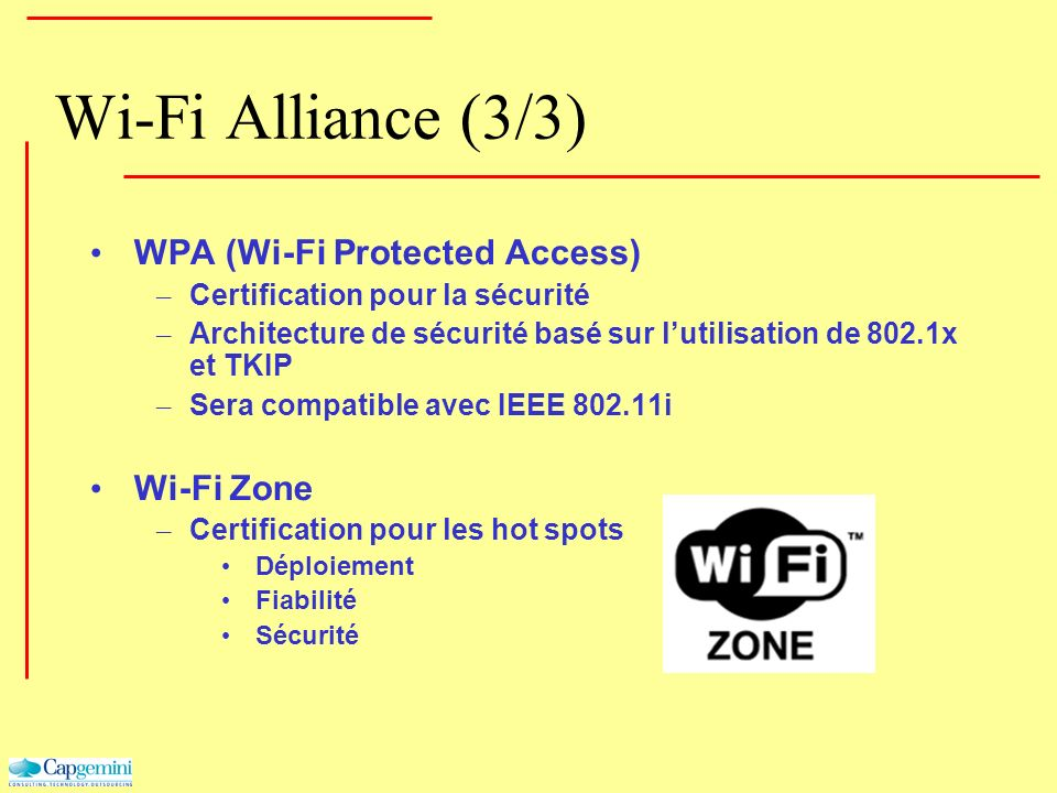 Wi-Fi Alliance (3/3) WPA (Wi-Fi Protected Access) Wi-Fi Zone