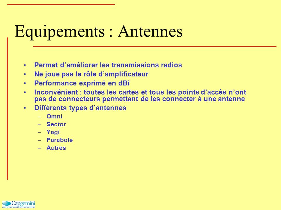Equipements : Antennes