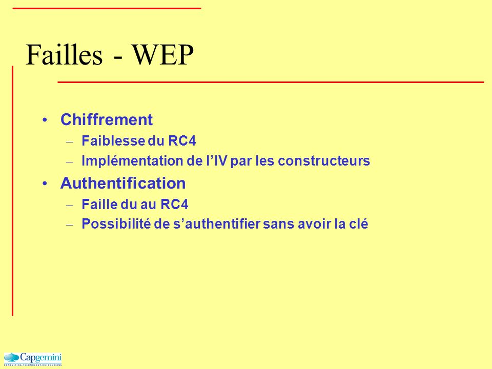 Failles - WEP Chiffrement Authentification Faiblesse du RC4