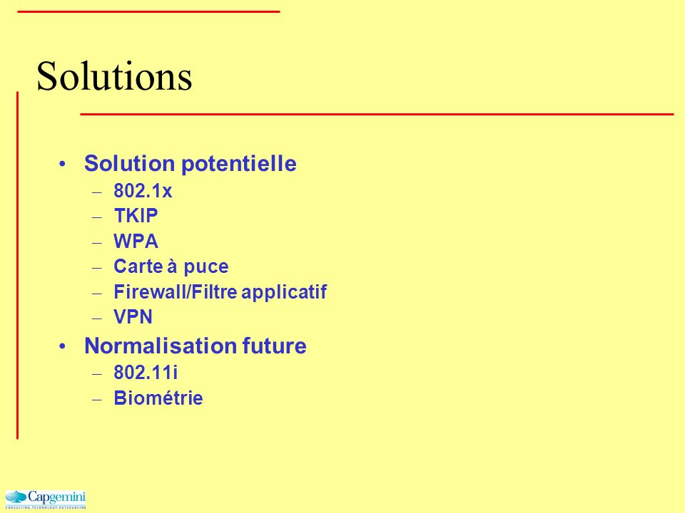 Solutions Solution potentielle Normalisation future 802.1x TKIP WPA
