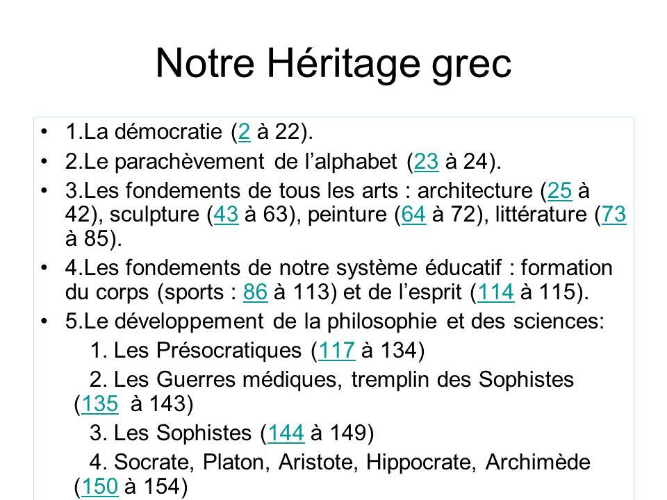 Notre Héritage grec 1.La démocratie (2 à 22).