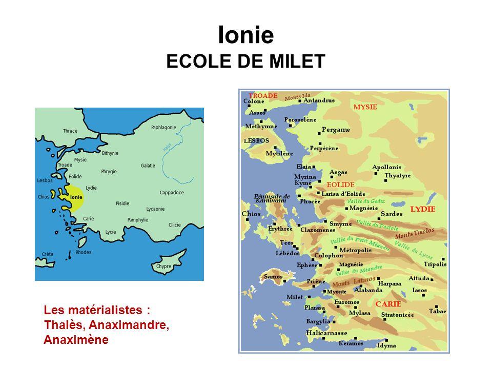 Ionie ECOLE DE MILET Les matérialistes :