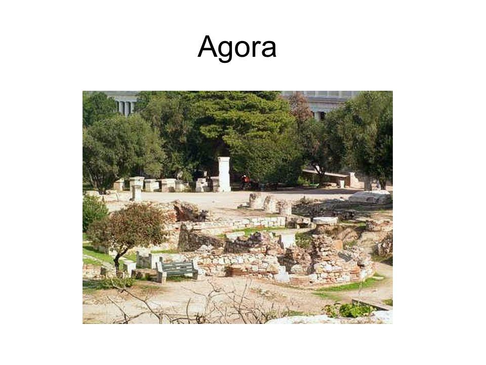 Agora « Agora » : place publique où se trouve le « Bouleuterion » : lieu de réunion de la « Boulè » (commentaire à la dia 14).