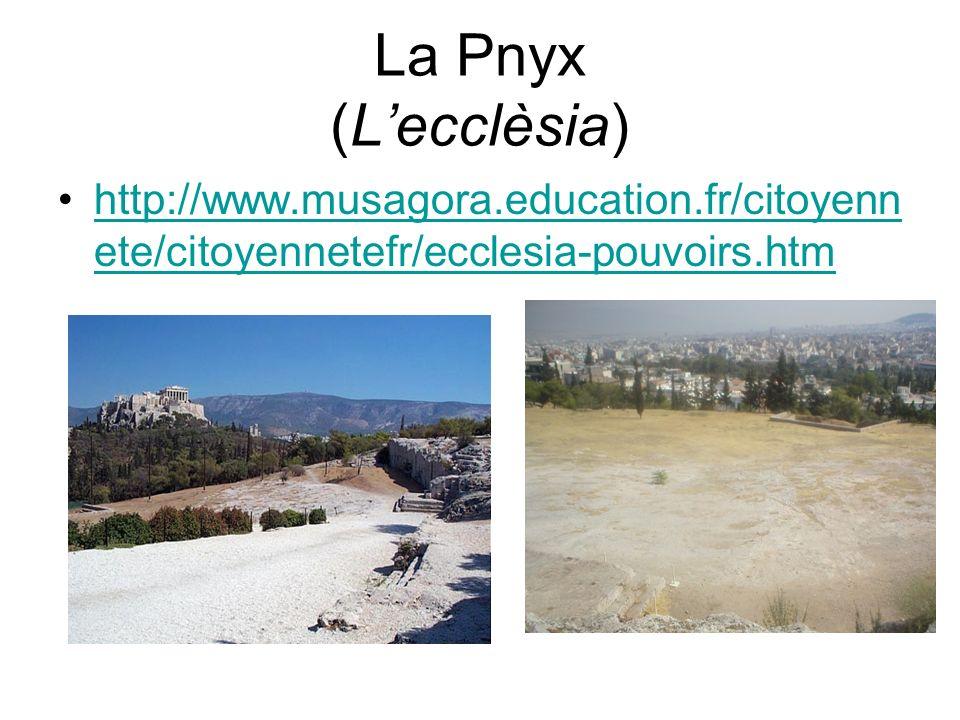 La Pnyx (L'ecclèsia) http://www.musagora.education.fr/citoyennete/citoyennetefr/ecclesia-pouvoirs.htm.