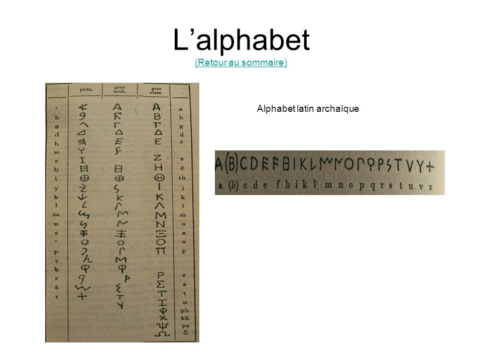 L'alphabet (Retour au sommaire)