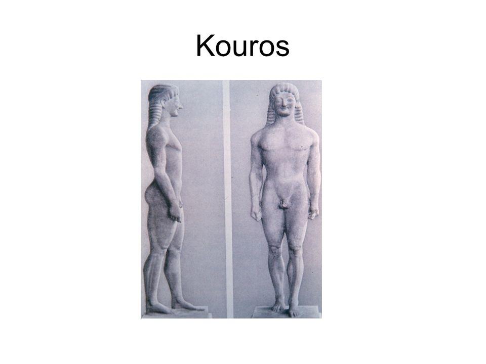 Kouros Epoque archaïque. La statue est destinée à être vue de face.