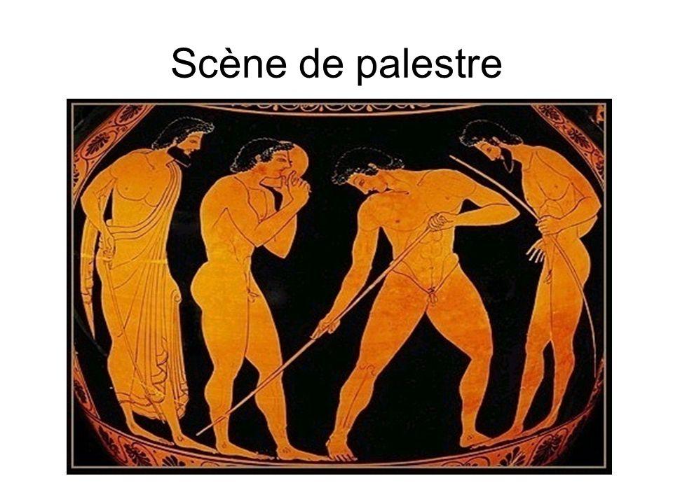 Scène de palestre Scène de palestre : discobole, pédotribe, athlètes amphore à figures rouges (vers 515 av. J.-C.) Paris, Musée du Louvre G 42.