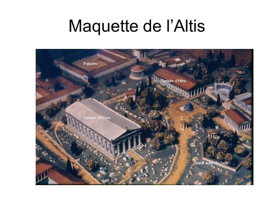 Maquette de l'Altis Palestre. Temple d'Héra. Temple de Zeus.