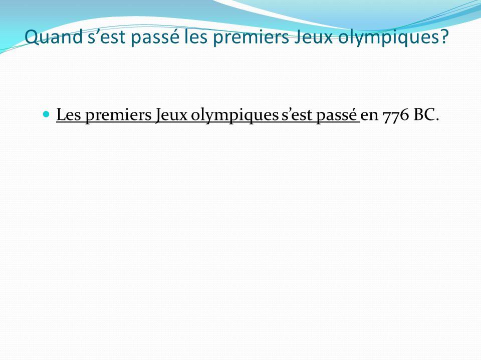 Quand s'est passé les premiers Jeux olympiques