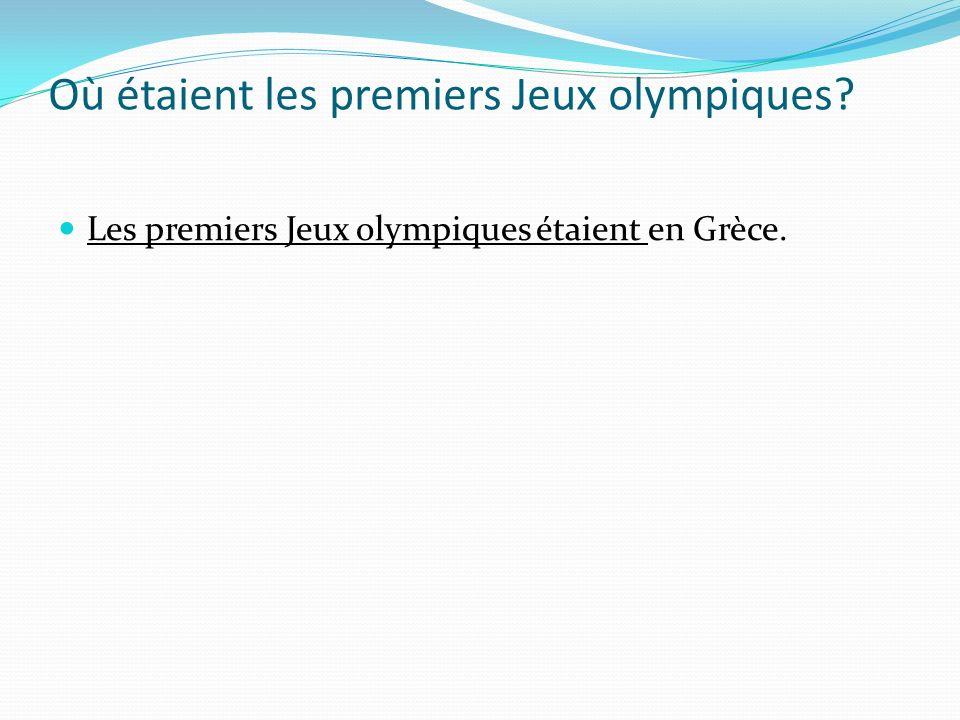 Où étaient les premiers Jeux olympiques