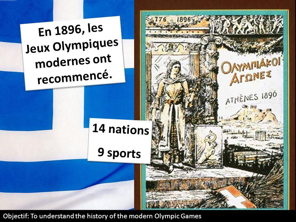 En 1896, les Jeux Olympiques modernes ont recommencé.