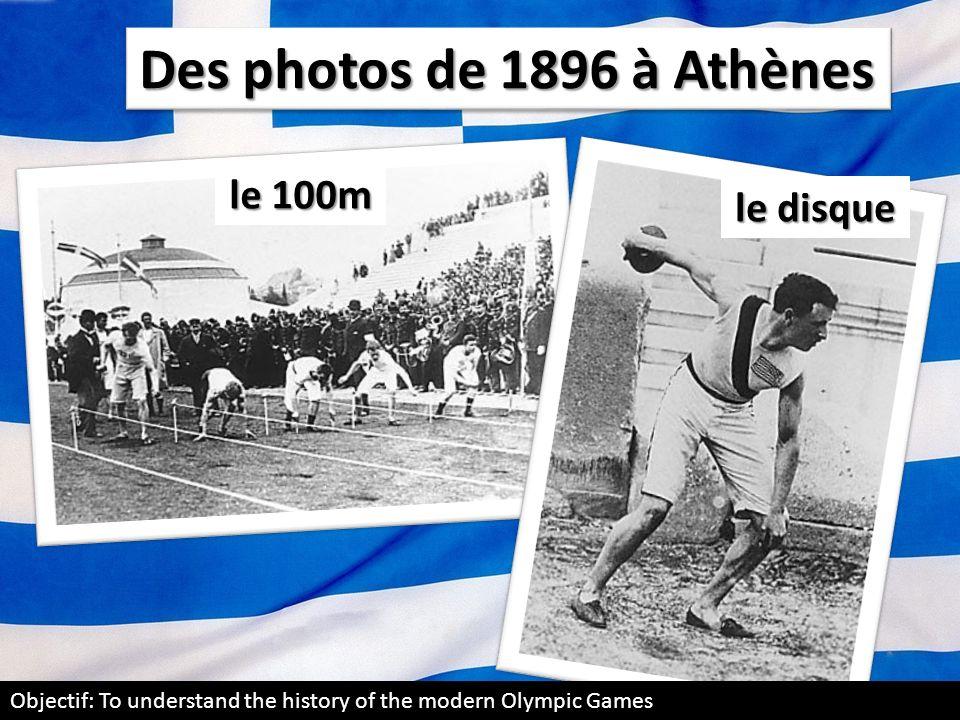 Des photos de 1896 à Athènes le 100m le disque