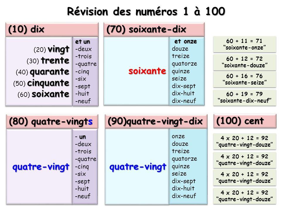 Révision des numéros 1 à 100 (10) dix (70) soixante-dix soixante