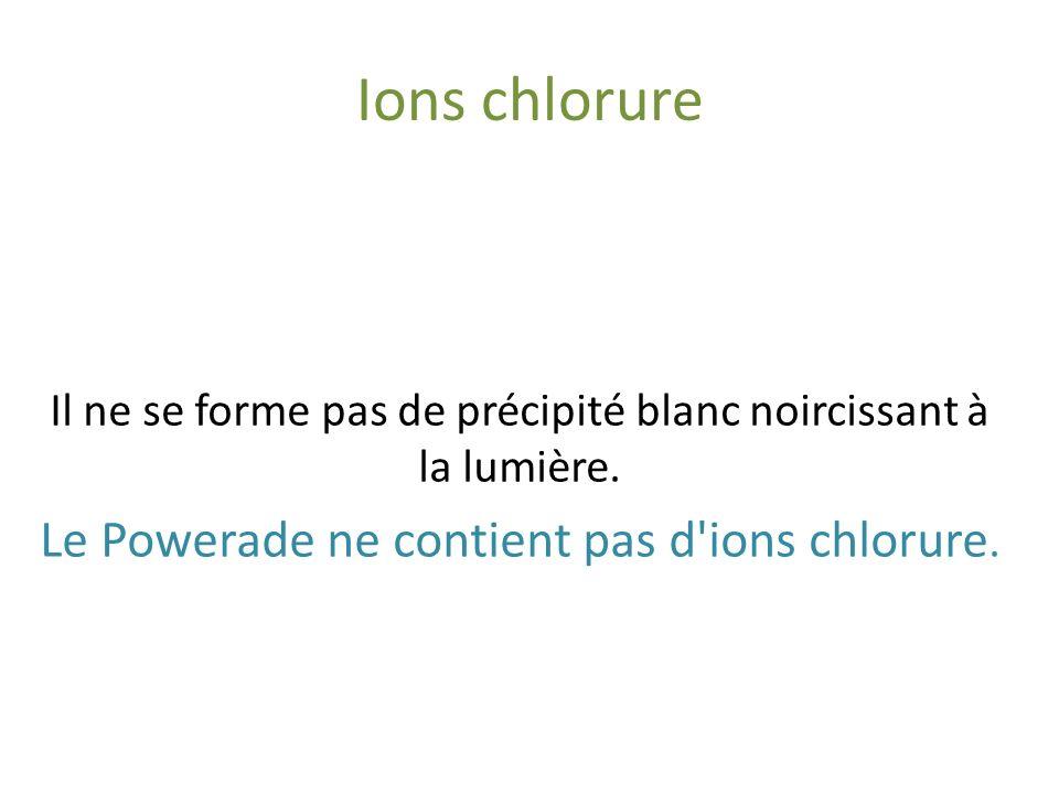 Ions chlorure Le Powerade ne contient pas d ions chlorure.
