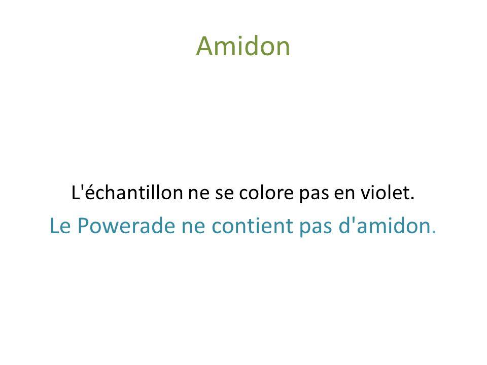 Amidon Le Powerade ne contient pas d amidon.