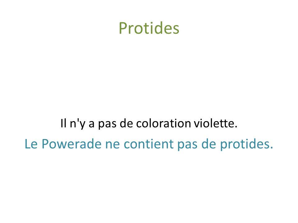 Protides Le Powerade ne contient pas de protides.